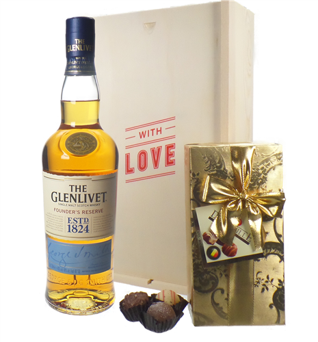 Glenlivet 12 Single Malt Scotch Whisky And Chocolates Valentines Gift