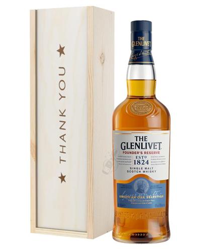 Glenlivet Founders Reserve Single Malt Whisky Thank You Gift In Wooden Box