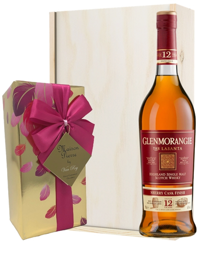 Glenmoragnie LaSanta and Chocolates Gift Set in Wooden Box