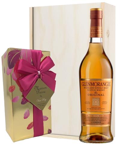 Glenmorangie Original and Chocolates Gift Set in Wooden Box