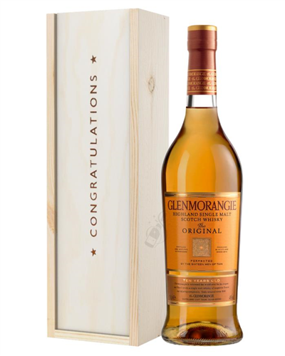 Glenmorangie Original Single Malt Whisky Congratulations Gift In Wooden Box