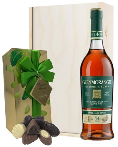 Glenmorangie Quinta Ruban and Chocolates Gift Set in Wooden Box