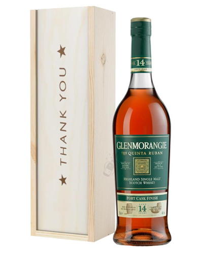 Glenmorangie Quinta Ruban Malt Whisky Thank You Gift In Wooden Box