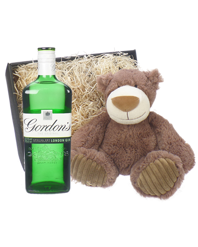 Gordons Gin and Teddy Bear Gift Basket