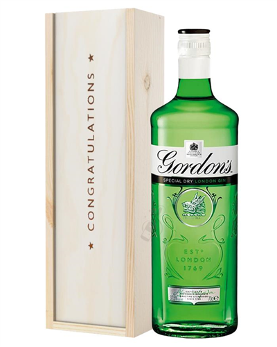 Gordons Gin Congratulations Gift In Wooden Box