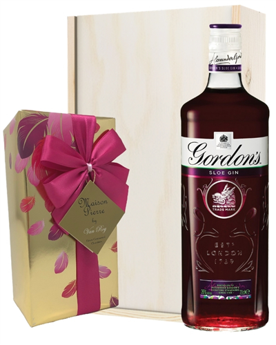 Gordons Sloe Gin And Chocolates Gift Set in Wooden Box