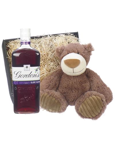 Gordons Sloe Gin And Teddy Bear Gift Basket