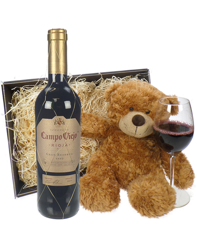 Gran Reserva Red Wine and Teddy Bear Gift Basket
