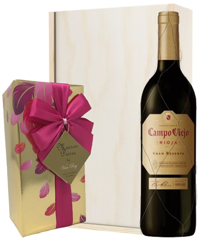 Gran Reserva Wine and Chocolates Gift Set in Wooden Box