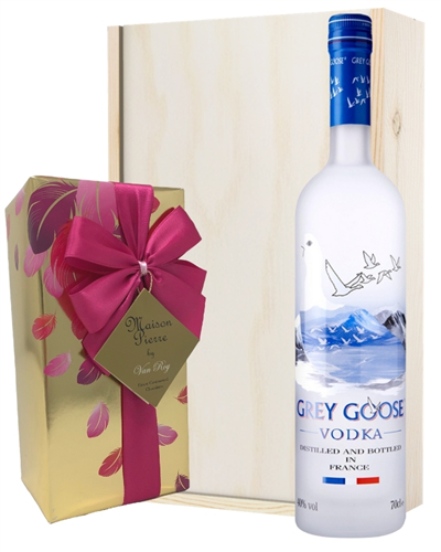 Grey Goose Vodka And Chocolates Gift Set in Wooden Box