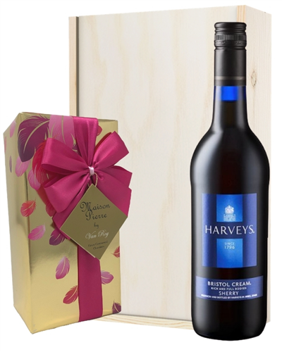 Harveys Bristol Cream And Chocolates Gift Set in Wooden Box