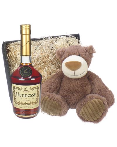 Hennessy VS Cognac and Teddy Bear Gift Basket