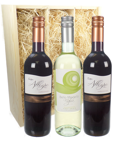 Italian Mixed Three Bottle Wine Gift in Wooden Box