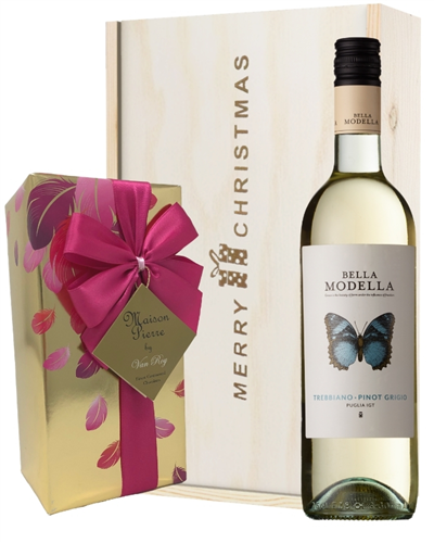 Italian Pinot Grigio Christmas Wine and Chocolate Gift Box