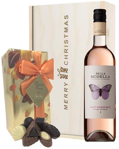 Italian Pinot Grigio Rose Christmas Wine and Chocolate Gift Box