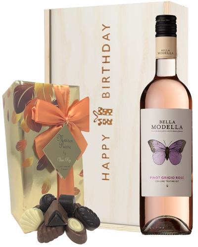Italian Pinot Grigio Rose Wine and Chocolate Birthday Gift Box