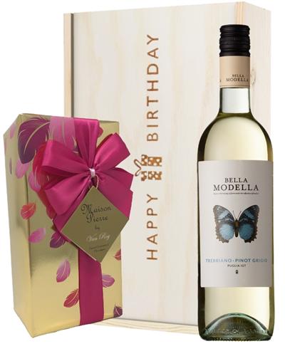 Italian Pinot Grigio Wine and Chocolate Birthday Gift Box