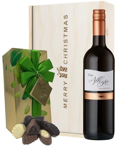 Italian Sangiovese Christmas Wine and Chocolate Gift Box