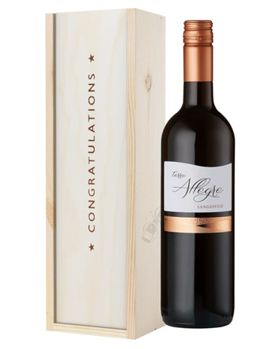 Italian Sangiovese Red Wine Congratulations Gift In Wooden Box