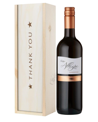 Italian Sangiovese Red Wine Thank You Gift In Wooden Box