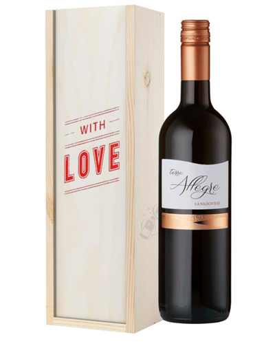 Italian Sangiovese Red Wine Valentines With Love Special Gift Box