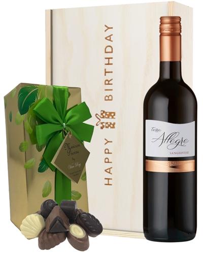 Italian Sangiovese Wine and Chocolate Birthday Gift Box