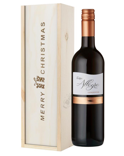 Italian Sangiovese Wine Single Bottle Christmas Gift In Wooden Box