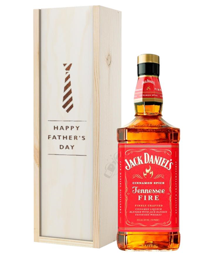 Jack Daniels Fire Whiskey Fathers Day Gift In Wooden Box
