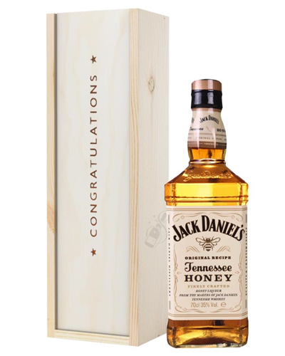 Jack Daniels Honey Whiskey Congratulations Gift In Wooden Box