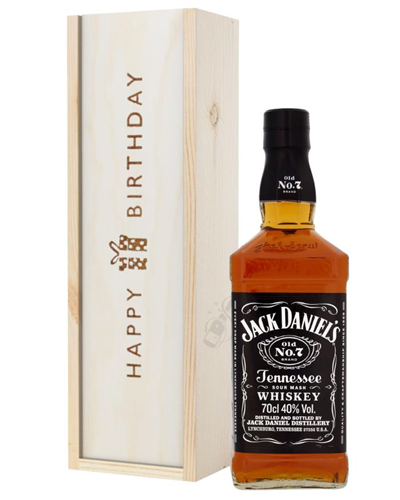 Jack Daniels Tennesse Whiskey Birthday Gift In Wooden Box