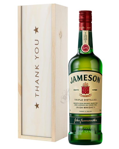 Jameson Irish Whiskey Thank You Gift In Wooden Box