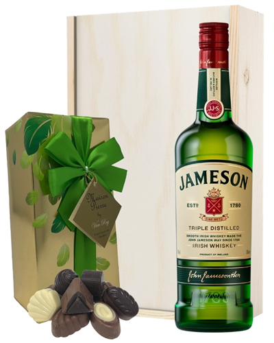 Jameson Whiskey and Chocolates Gift Set in Wooden Box