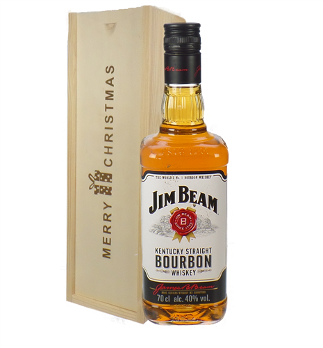 Jim Beam Kentucky Bourbon Whiskey Christmas Gift In Wooden Box