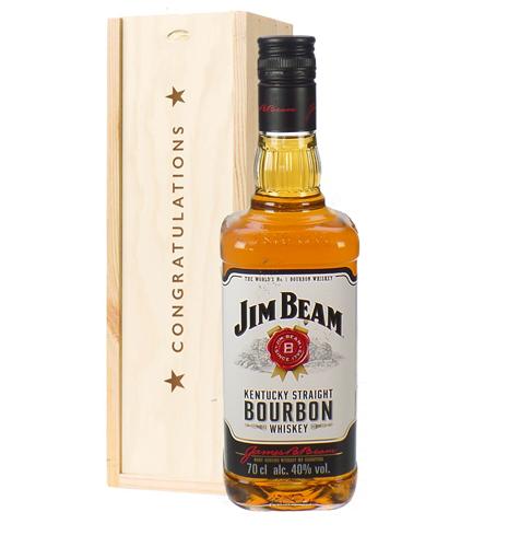 Jim Beam Kentucky Bourbon Whiskey Congratulations Gift In Wooden Box