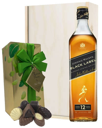 Johnnie Walker Black Label And Chocolates Gift Set in Wooden Box