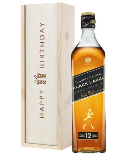 Johnnie Walker Black Label Whisky Birthday Gift In Wooden Box