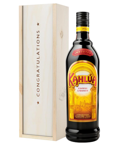 Kahlua Coffee Liqueur Congratulations Gift In Wooden Box