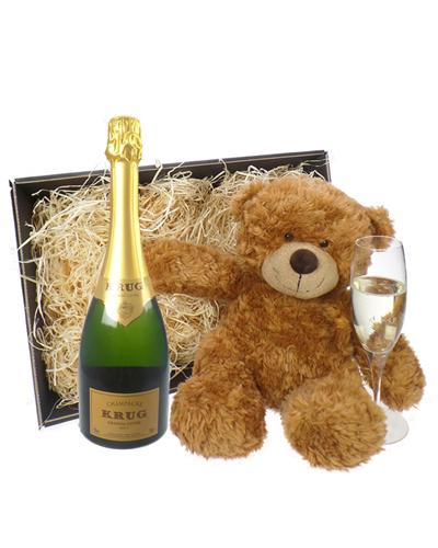 Krug Grande Cuvee Champagne and Teddy Bear Gift Basket