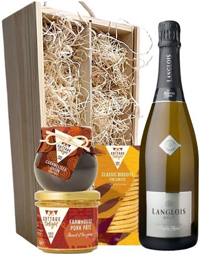 Langlois Brut Sparkling Wine & Gourmet Food Gift Box