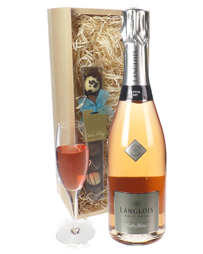 Langlois Rose Sparkling Wine And Chocolates Gift