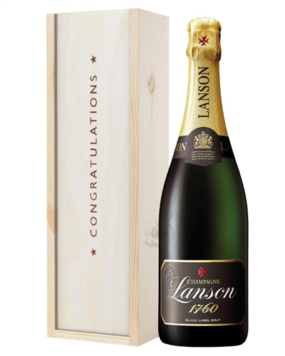 Lanson Black Label Champagne Congratulations Gift In Wooden Box