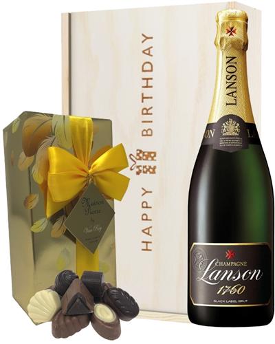 Lanson Champagne and Chocolates Birthday Gift Box