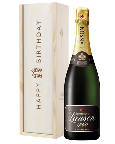 Lanson Champagne Birthday Gift In Wooden Box