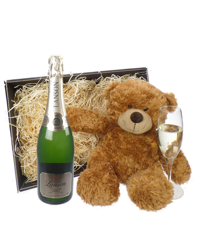 Lanson Gold Label Champagne and Teddy Bear Gift Basket