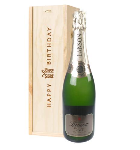 Lanson Gold Label Vintage Champagne Birthday Gift In Wooden Box