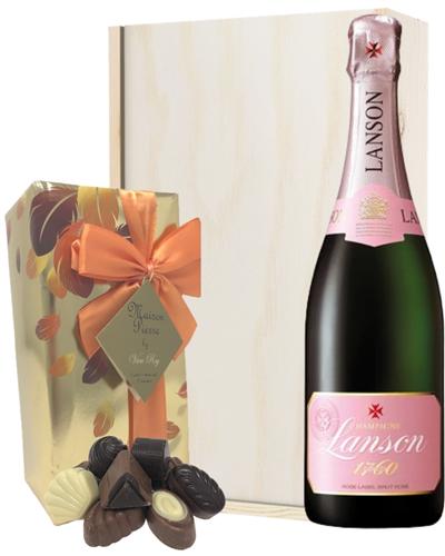 Lanson Rose Champagne & Belgian Chocolates Gift Box