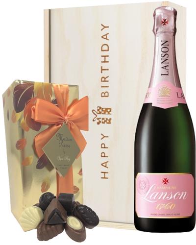 Lanson Rose Champagne and Chocolates Birthday Gift Box