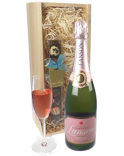 Lanson Rose Champagne and Chocolates Gift Set