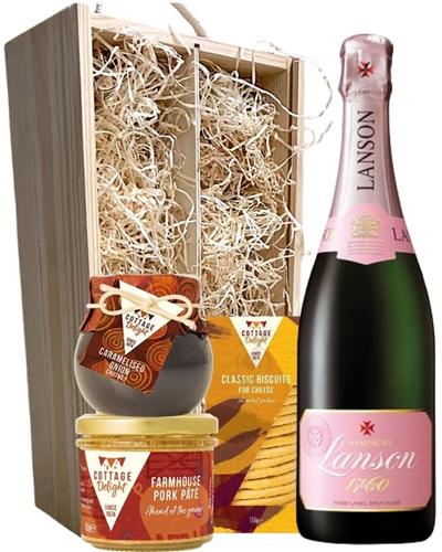 Lanson Rose Champagne & Gourmet Food Gift Box