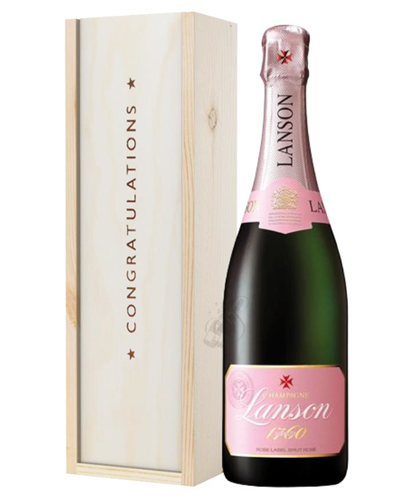 Lanson Rose Champagne Congratulations Gift In Wooden Box